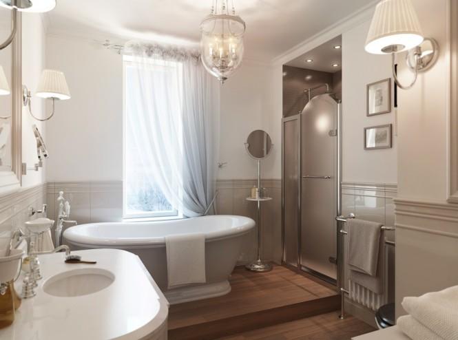 Gray white traditional bathroom 665x494