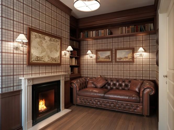 Plaid wallpaper den lounge 665x497